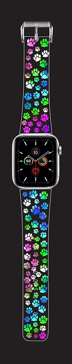 Multi-Color Paw Print Watch Band