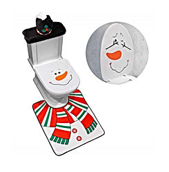 4-Piece Snowman Santa Toilet Seat Cover and Rug Set Red Christmas Decorations