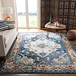Safavieh Monaco Collection MNC243N Bohemian Chic Medallion Distressed Area Rug