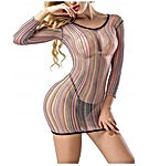 Women Rainbow Lingerie Fishnet Babydoll Sleepwear