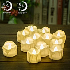 Timer Candles - 12pcs PChero Battery Operated LED Decorative Flameless Candles Flickering Tea Light