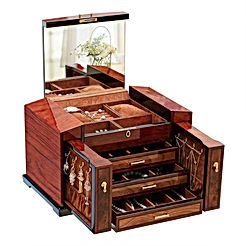 Large Capacity Solid Wood Jewelry Box Organizer with Lock and Key and Big Mirror on The Lid