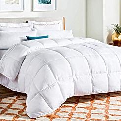 White Down Alternative Quilted Comforter - Corner Duvet Tabs - Hypoallergenic