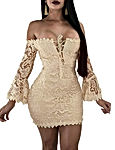 Women's Lace Dress Sexy Off Shoulder Flare Sleeve