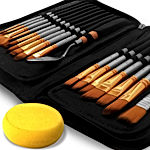Paint Brush Set of 16 – 15 Different Shapes + 1 Flat Brush – with Pallete Knife and Sponge