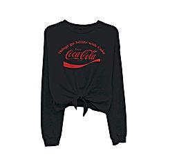 Ladies Coca Cola Fashion Shirt - Coke Classic Logo Tie Front Long Sleeve Tee