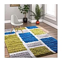 Shaggy Cubes Blue & Green Plush Shag Modern Geometric Blocks & Squares