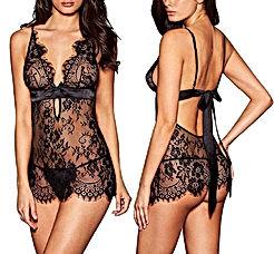 Women Sexy Lingerie Black Eyelash Lace Chemise Babydoll Nightwear