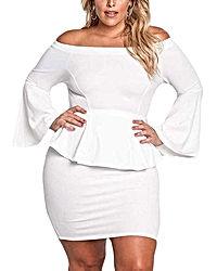 Womens Peplum Off The Shoulder Party Plus Size Mini Dress