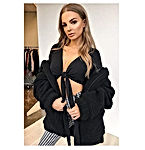Women's Fashion Long Sleeve Lapel Zip Up Faux Shearling Shaggy Oversized Coat Jacket