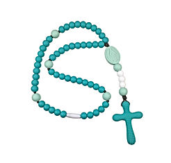 Chews Life Turquoise & Mint Soft Rosary - Boys' or Girls' Baptism or Mass Toy