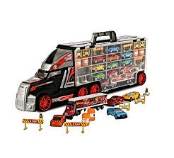 ToyThrill Super Transport Truck Carrier Toy - Plastic Transporter/Case - Includes 10 Die-Cast Mini Cars
