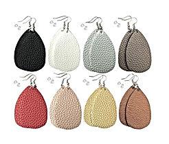 Leather Earrings Lightweight Faux Leather Leaf Dangle Earrings Teardrop Earrings Antique Handmade