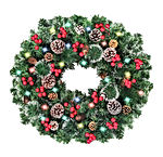 30 Inch Christmas Wreaths with Lights Pine Cones Red Berries Cedar Leaves 80 LED Battery
