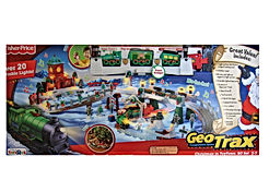 Geo Trax REMOTE Control CHRISTMAS in TOY TOWN TRAIN Set w LIGHTS & Sounds