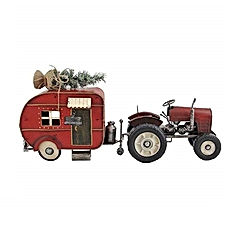 Red Tractor and Camper Set with Christmas Tree Iron