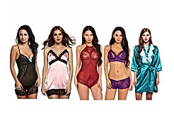 5 Pack Lace Lingerie V-Neck Babydoll Nightwear Mesh Teddy Sexy Bodysuit