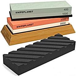 Knife Sharpening Stone Set – 400/1000 and 3000/8000-Grit Professional, Safe Knife Sharpener Set