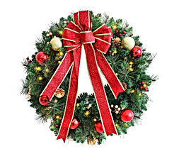 24 Inch Pre-lit Christmas Wreath Red Bow - Red and Gold Ball Berries Pine Core