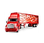Wheel Master Peterbilt Tractor Trailer 387 Play Toy Truck Vehicle for Kids 1/32 Die Cast Scale, Flame Design