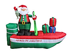 8 Foot Long Inflatable Santa Claus on a Fishing Boat