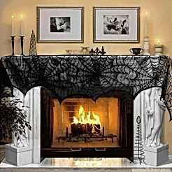 AerWo Halloween Decoration Black Lace Spiderweb Fireplace Mantle