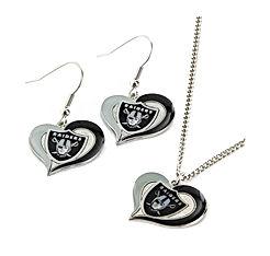 NFL Swirl Heart Earrings & Pendant Set