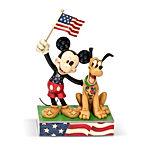 Mickey and Pluto Patriotic Figurine