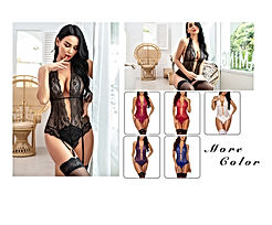 Women Lingerie Set with Garter Lace Teddy Bodysuit Set Mini Babydoll