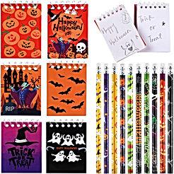 40 Pièces Cahier à Spirale Halloween Crayons d'Halloween de Citrouille Toile d'Araignée Chauve Souris Vampire pour Enfants Cadeau de Fête Trick or Treat