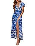 Women's Summer Boho Floral Print Wrap V Neck Short Sleeves