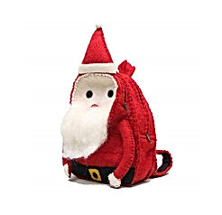 Toddler Christmas Santa Bag, Christmas Santa for Children,Handmade Natural Wool Santa Claus Backpack