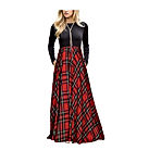 Women's Plaid Long Sleeve Empire Waist Full Length Maxi Dress
