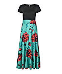 Aublary Womens Long Sleeve Maxi Dress Round Neck Floral Print Casual