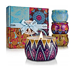 Winter Scented Candles Set for Women Natural Soy Wax Portable Travel Tin Candle
