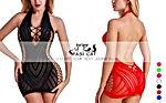 FasiCat Women Fishnet Babydoll Lingerie Chemise Halter Nightwear