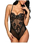 Women One Piece Lingerie Lace Fishnet Teddy Bodysuit Mesh Babydoll