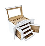 Large Capacity Handcrafted Wood Jewelry Box with Big Mirror-Safe Lock and Key