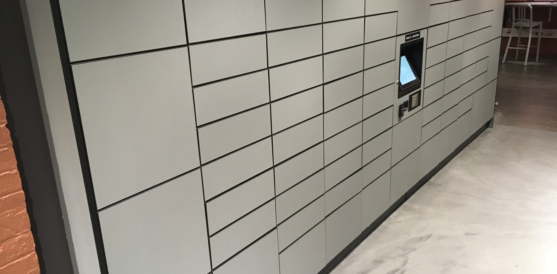 public access parcel pickup lockers screen pc control access