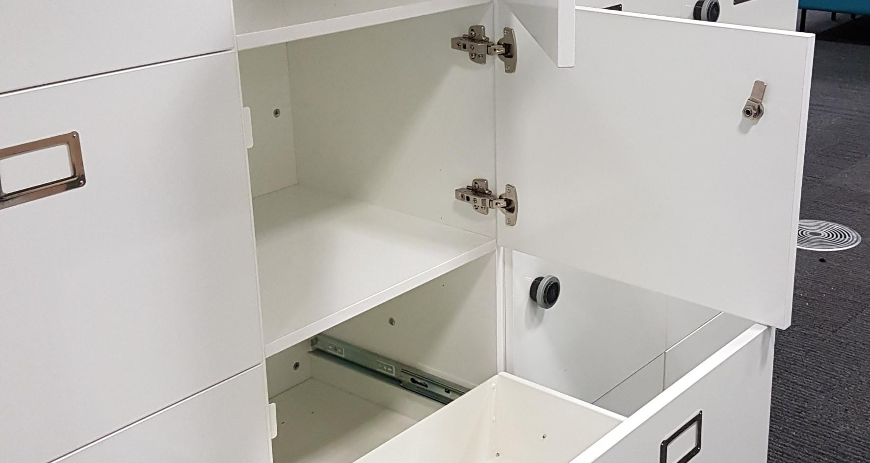 bespoke agile workplace hot desking locker RFID lock pullout drawer USB charging planters