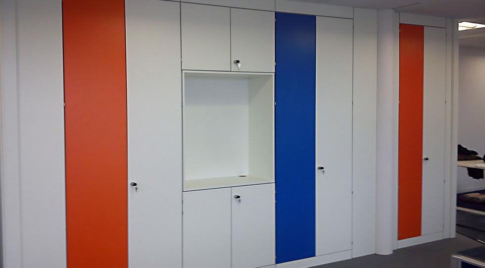 bespoke storagewall tallwall office wall storage coloured coffee tea station