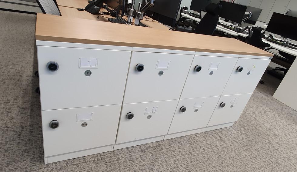 bespoke agile smart workplace hot desk locker RFID lock oak worktop