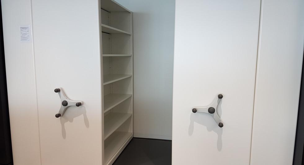 mobile roller racking stack shelving archive medical records storage