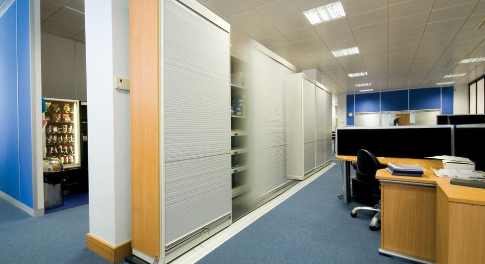 slide a side mobile shelving archive filing system