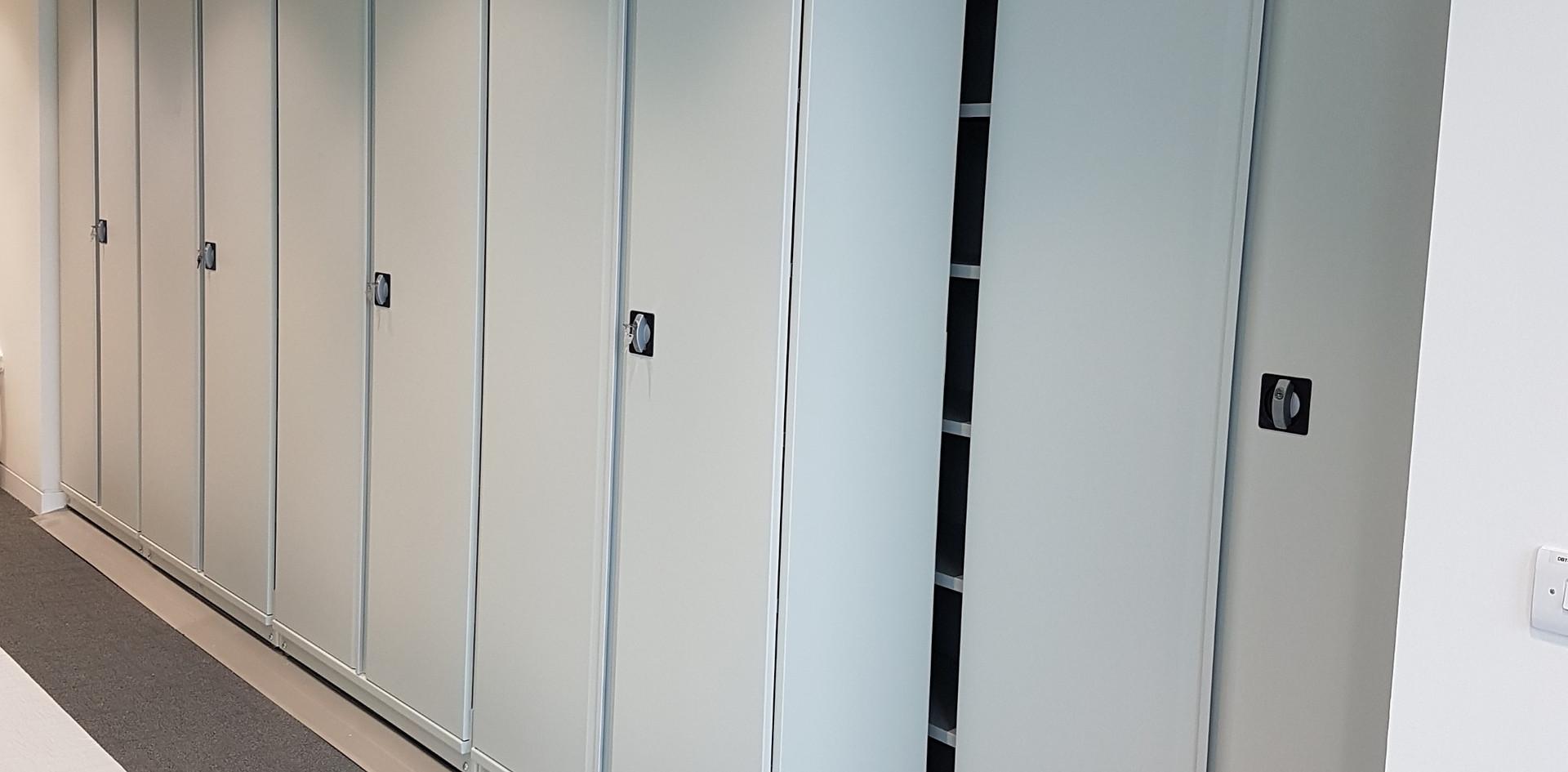 slide a side mobile sliding roller shelving archive medical records storage foot lock