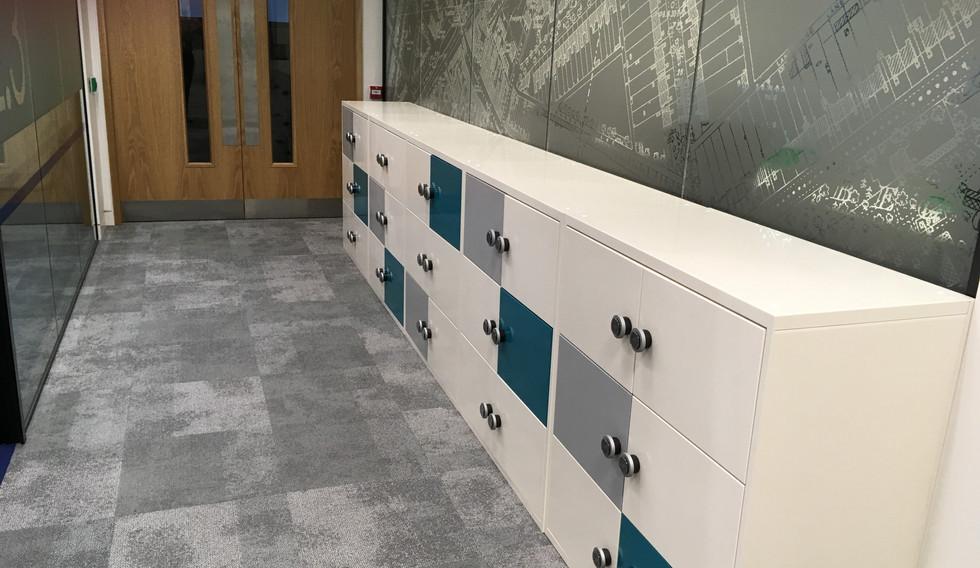 bespoke agile smart workplace hot desking locker RFID locks