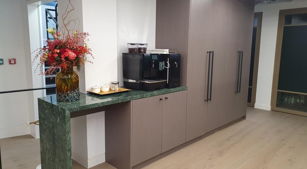 bespoke office storagewall modular unit tea coffee station