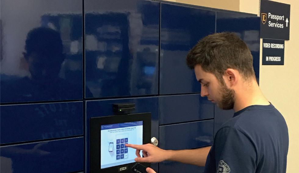 bespoke public access parcel lockers access screen