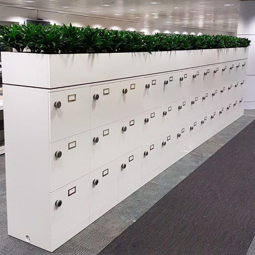 agile workplace bespoke lockers RFID locking planter top