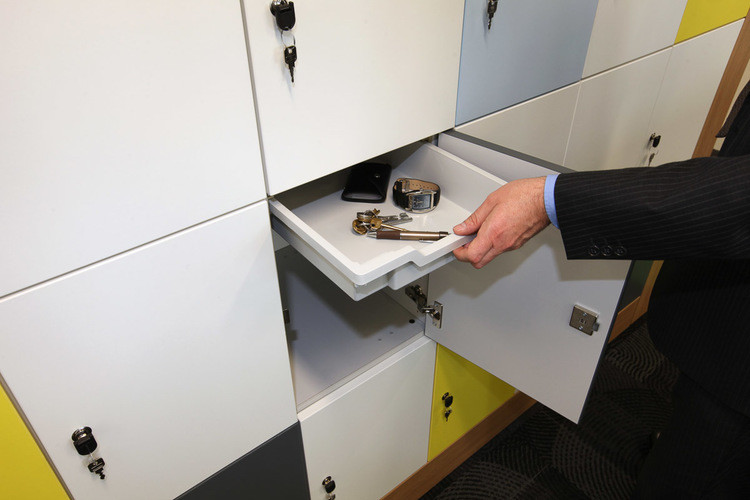bespoke agile workplace smart flexible working lockers pull out drawer